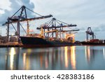 Container Ship In The Harbor A...