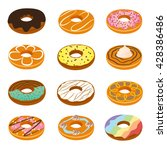 delicious donuts collection | Shutterstock .eps vector #428386486