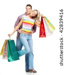 happy shopping people. isolated ... | Shutterstock . vector #42839416