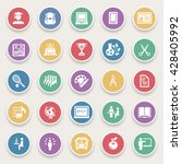education icons on color... | Shutterstock .eps vector #428405992