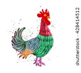 rooster painting in color  hand ... | Shutterstock .eps vector #428414512