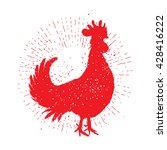 rooster red label. vintage... | Shutterstock .eps vector #428416222