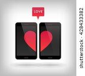 love on phone. vector... | Shutterstock .eps vector #428433382