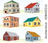 perspective view house icon set.... | Shutterstock .eps vector #428435212
