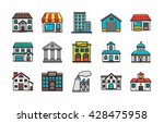 colorful building icons set... | Shutterstock .eps vector #428475958