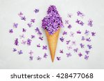 Ice Cream Of Lilac Flowers In...