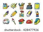 stationery and drawing icons... | Shutterstock .eps vector #428477926