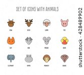 set of icons with animals. cow  ... | Shutterstock .eps vector #428489902
