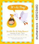 cute boy baby shower card with... | Shutterstock .eps vector #428523682