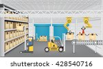 robot working with production... | Shutterstock .eps vector #428540716