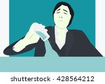 man pouring water illustration | Shutterstock .eps vector #428564212