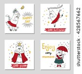 set of cards with cute cats.... | Shutterstock .eps vector #428567662