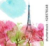 eiffel tower. spring paris. | Shutterstock . vector #428578168