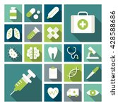 set of cute vector medical flat ... | Shutterstock .eps vector #428588686