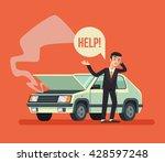 man standing near broken car... | Shutterstock .eps vector #428597248