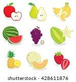 set of colorful cartoon fruit... | Shutterstock .eps vector #428611876