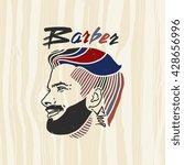 vintage barber shop logo  ... | Shutterstock .eps vector #428656996