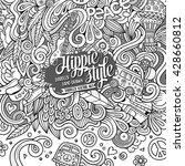 cartoon hand drawn doodles... | Shutterstock .eps vector #428660812