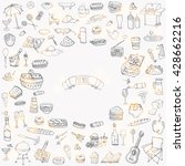 hand drawn doodle picnic icons... | Shutterstock .eps vector #428662216