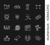 sixteen modern cinema icons | Shutterstock . vector #428662342