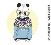 panda boy dressed up in... | Shutterstock .eps vector #428666596