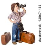 traveling little boy with old... | Shutterstock . vector #428674486