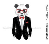panda man dressed up in tuxedo  ... | Shutterstock .eps vector #428677942