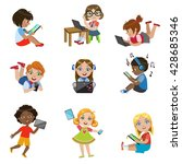 kids with gadgets set of bright