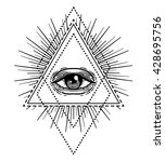 blackwork tattoo flash. eye of... | Shutterstock .eps vector #428695756