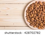 Almonds. Almonds On Wooden...