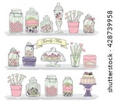 cute hand drawn glass jars with ... | Shutterstock .eps vector #428739958