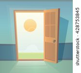dreams comes true. open door... | Shutterstock .eps vector #428753845