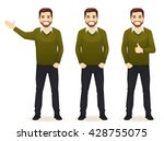 set of standing business men in ... | Shutterstock .eps vector #428755075