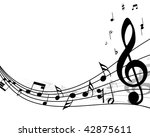 musical notes staff background... | Shutterstock . vector #42875611