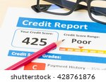 poor credit score report with... | Shutterstock . vector #428761876