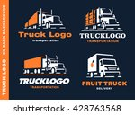 set of four logos with truck... | Shutterstock .eps vector #428763568