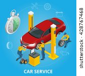 car repair service center. flat ... | Shutterstock . vector #428767468