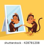 monkey looks in mirror and did... | Shutterstock .eps vector #428781208