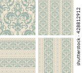 set of 4 vintage seamless... | Shutterstock .eps vector #428812912