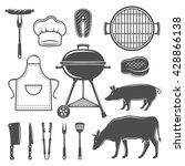 bbq decorative graphic flat... | Shutterstock .eps vector #428866138