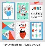 vector set of bright summer... | Shutterstock .eps vector #428869726