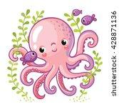 cartoon young octopus... | Shutterstock .eps vector #428871136