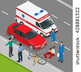 car accident or crash. flat 3d... | Shutterstock .eps vector #428881522