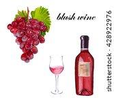 blush wine a bottle  a glass of ... | Shutterstock . vector #428922976