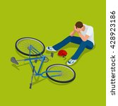 bicycle accident.  man falls...   Shutterstock .eps vector #428923186