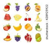 vector juicy fruits collection. ... | Shutterstock .eps vector #428925922