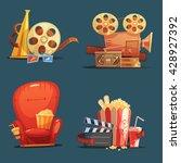 cinema symbols 4 retro style... | Shutterstock .eps vector #428927392