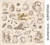 collection of coffee doodle... | Shutterstock .eps vector #428930566