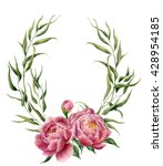 watercolor floral wreath with... | Shutterstock . vector #428954185