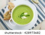 broccoli cream soup with bread... | Shutterstock . vector #428973682